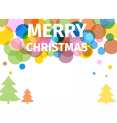 Retro colored christmas poster with trees vector