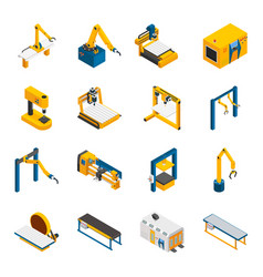Robotic machinery icons set vector