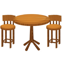 Round wooden table and chairs vector