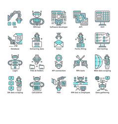 Rpa color icons set vector