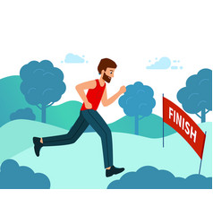 runner wins marathon finish line the vector image