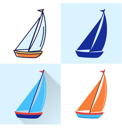 sailing yacht ship icon set in flat and line vector image