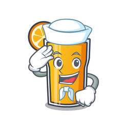 sailor orange juice character cartoon vector image