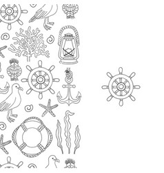 Sea seamless border hand draw sketch vector