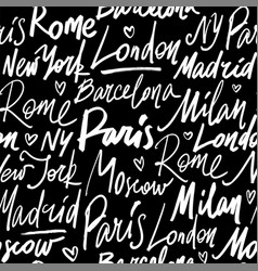 Seamless pattern with names of world cities vector