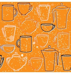 Seamless pattern with teapots and cups silhouettes vector image