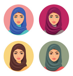 set four arab woman in different vector image