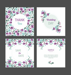 Set of cards with floral design elements wedding vector