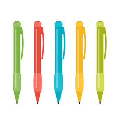 set of five multi-colored pens vector image