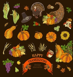 Set of Thanksgiving design elements vector