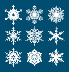 set of white snowflakes isolated on blue vector image