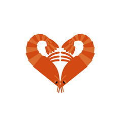 Shrimps love isolated heart of plankton on white vector