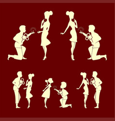 silhouettes of couples men and girls set vector image