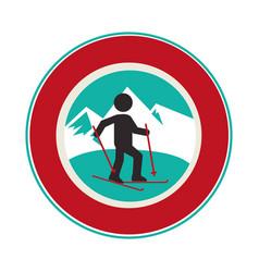 Ski athlete silhouette icon vector