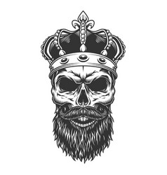Skull with beard in the crown vector