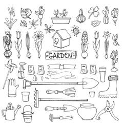 Spring garden doodlesFlowersbulbsplantstools vector