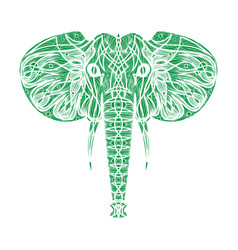 Stylized ethnic boho elephant portrait isolated vector