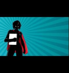 Superheroine holding book ray light silhouette vector