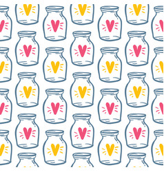 textile pattern love bottle with heart vector image