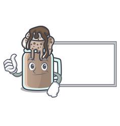 Thumbs up with board milkshake character cartoon vector