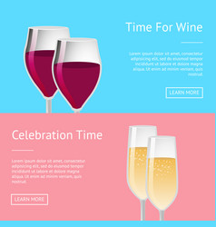 Time for celebration with wine set of web posters vector