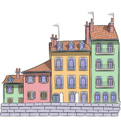 Traditional old houses in historical part of vector
