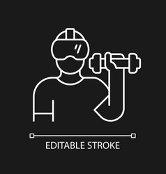 Virtual reality fitness white linear icon vector