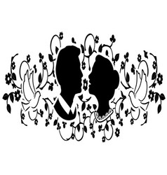 wedding silhouette with flourishes 3 vector image