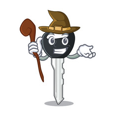 witch mascot ilustration featuring on car key vector image