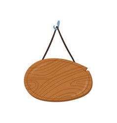 Wooden singboard hanging on ropes cartoon vector