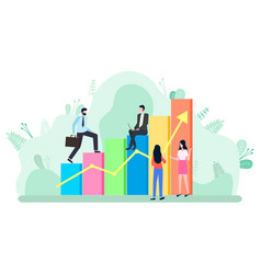 workers climbing career ladder rising chart vector image