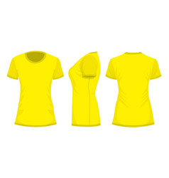 yellow womans t-shirt in back front and side views vector image