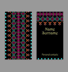 business card template ethnic tribal ornaments vector image vector image