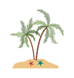 color silhouette of island with palm trees and vector image