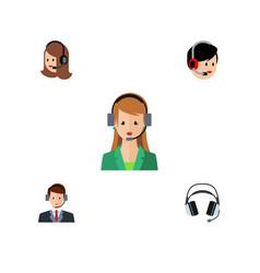 flat call set of operator hotline earphone and vector image vector image