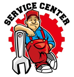 mechanic pose with big wrench vector image vector image