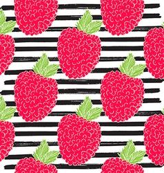 Raspberry hand drawn sketch striped Seamless vector image