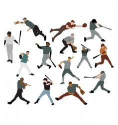 set of baseball players vector image