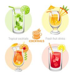 Fresh fruit drink bar logo icon set flat vector