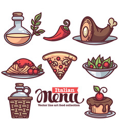 italian menu collection of flat linear food and vector image