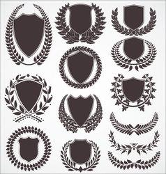 Laurel wreath and shield set vector image vector image