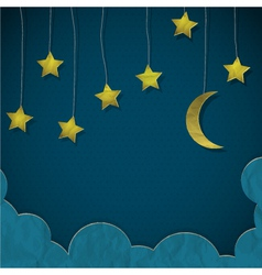 Moon and stars made from paper vector