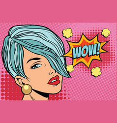 short hair beautiful girl wow vector image