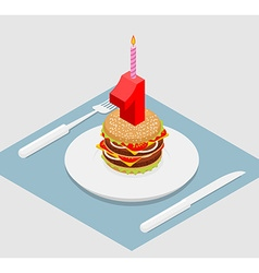 1 year birthday burger Number one with candle vector image