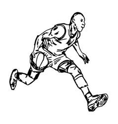 basketball player with ball vector image