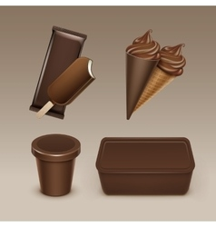 Chocolate Ice Cream Waffle Cone with Plastic Box vector image vector image