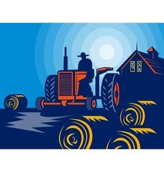 Farmer driving tractor hay bale farmhouse barn vector