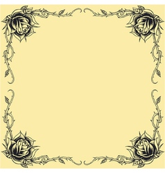 Roses frame oldskool Tattoo style design vector image vector image