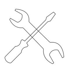 Screwdriver and wrench the black color icon vector