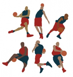 set of basketball player vector image